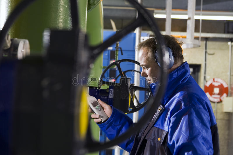 Engineer measuring noise levels royalty free stock photography