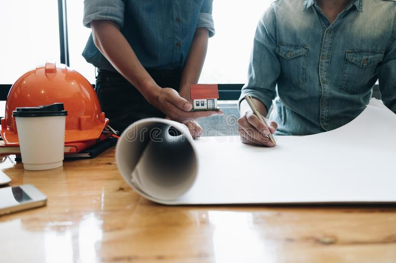 Engineer meeting for architectural construction project. working royalty free stock image