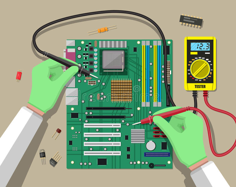 Engineer with multimeter checks motherboard. Hands of engineer with digital multimeter checks computer motherboard. PC hardware. Components for personal computer royalty free illustration