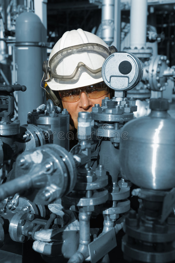 Engineer and oil machinery royalty free stock images