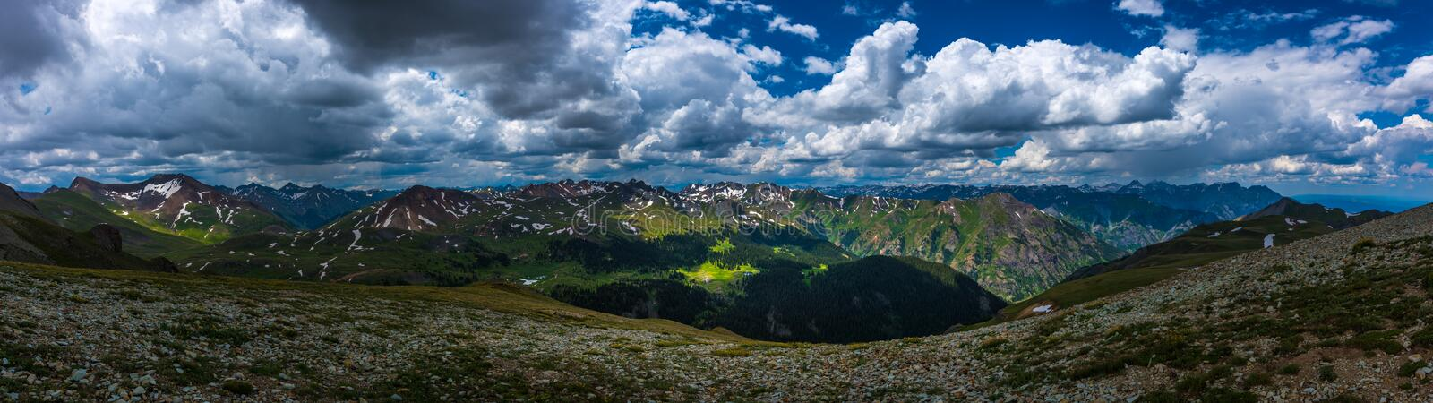 Engineer Pass Colorado view from the top, panoramic shot stock photography