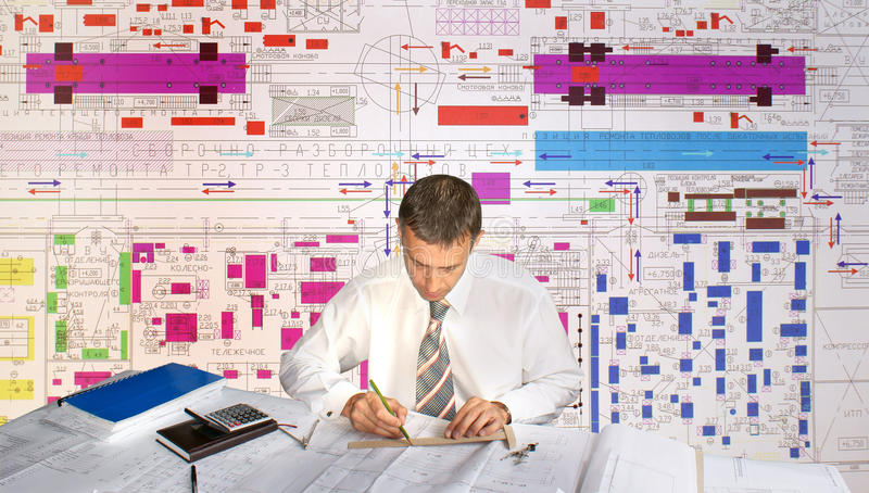 Engineer- planner. Projection -initial preparatory stage in construction new building stock images