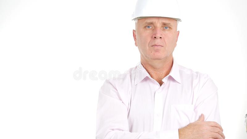 Engineer Portrait Looking Confident in a Business Presentation royalty free stock photo