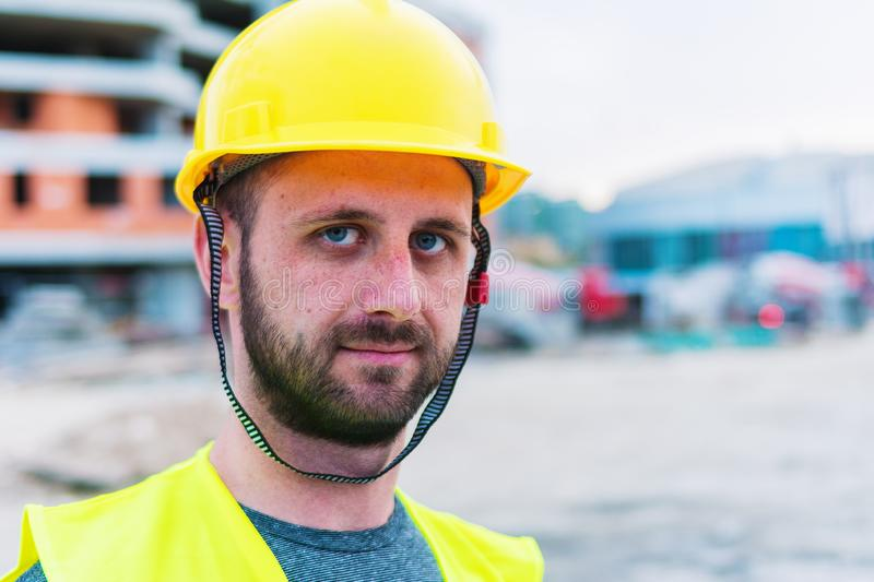 Building construction worker engineer posing stock photography