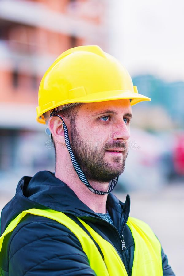 Portrait Of Construction Worker On Building Site royalty free stock photography