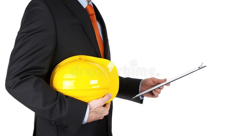 Engineer reading notes stock image