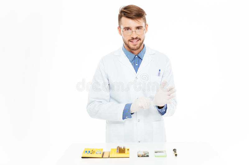 Engineer reading for repair smartphone royalty free stock photo