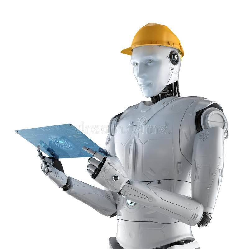 Engineer robot with tablet stock illustration