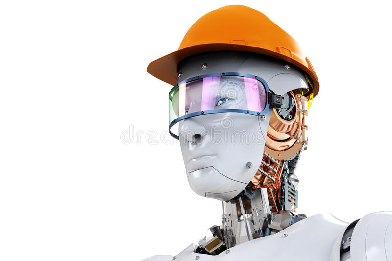 Engineer robot wearing safety helmet royalty free illustration