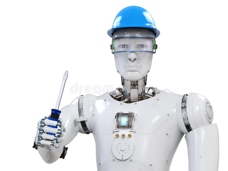 Engineer robot wearing safety helmet stock photography