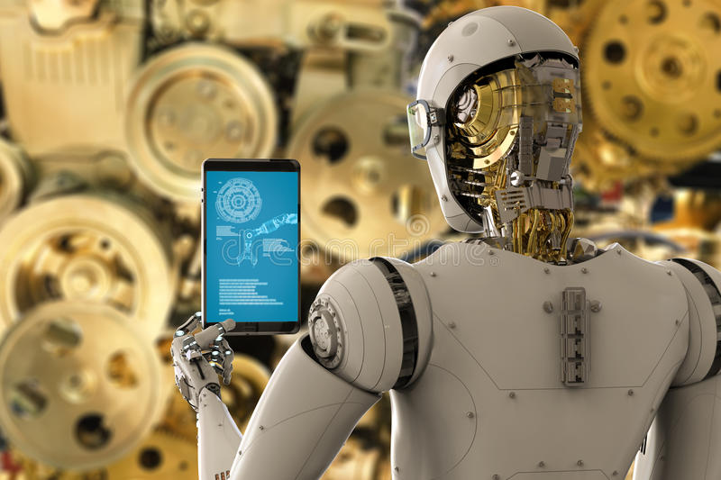Engineer robot working with tablet stock illustration
