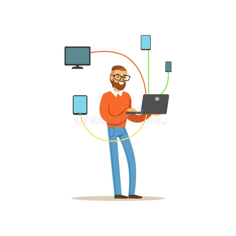 Engineer system IT administrator servicing the computer system, networking service vector illustration. Isolated on a white background stock illustration