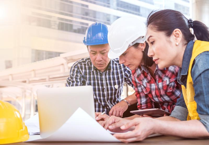 Engineer and teamwork meeting royalty free stock images