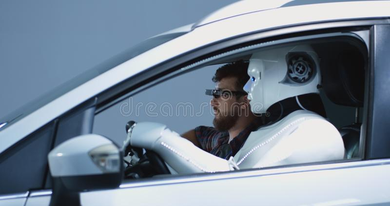 Engineer testing car driving robot stock photo
