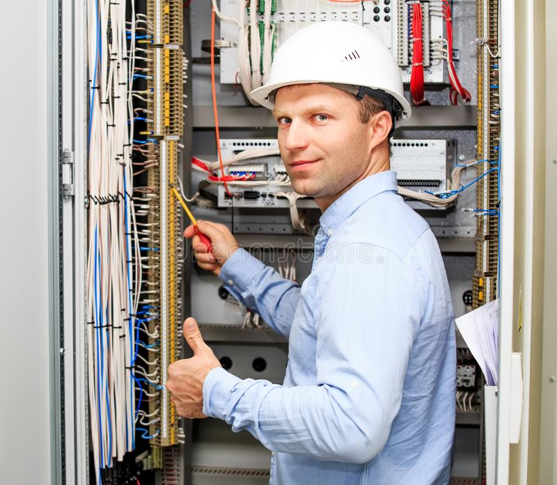Engineer with thumb up stock photos