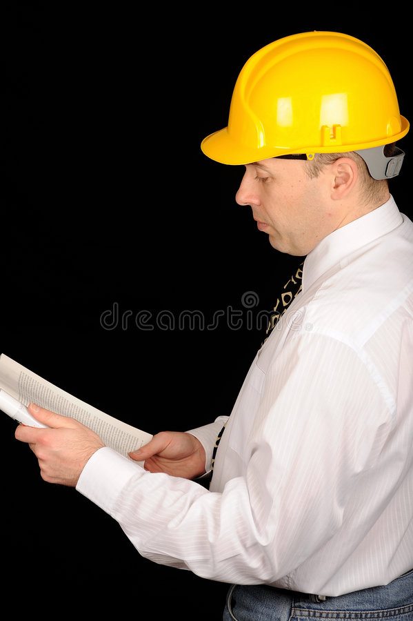 Engineer wearing safety hat stock photography