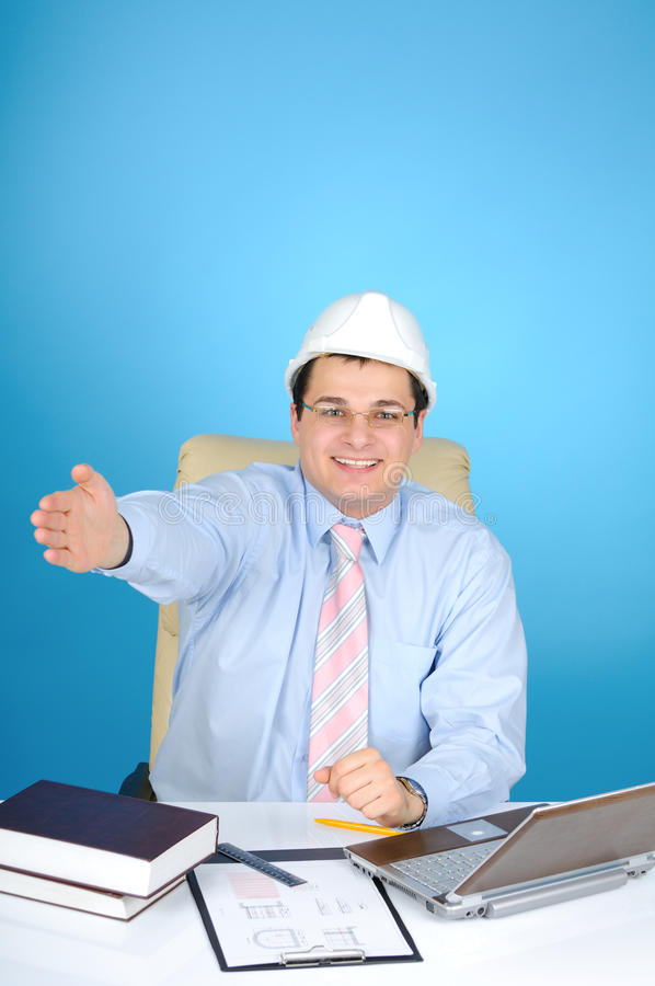 An engineer with white hard hat stock photography