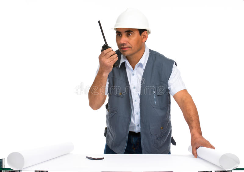 Engineer With White Helmet And Blueprints Stock Photos