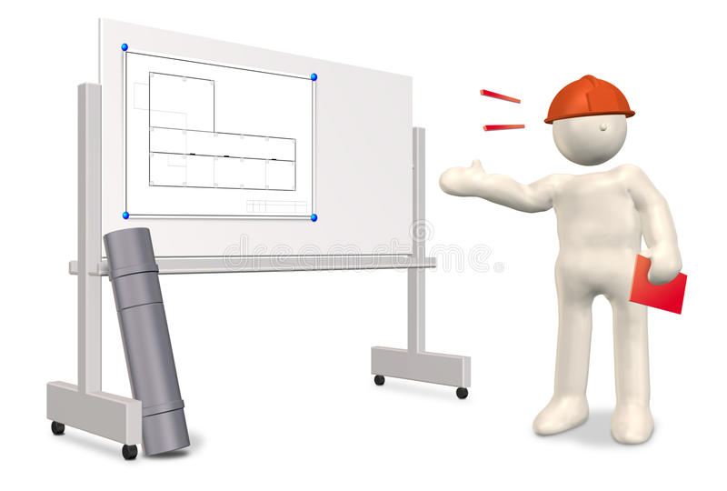 The engineer who explain the drawings. CG ,white background royalty free illustration