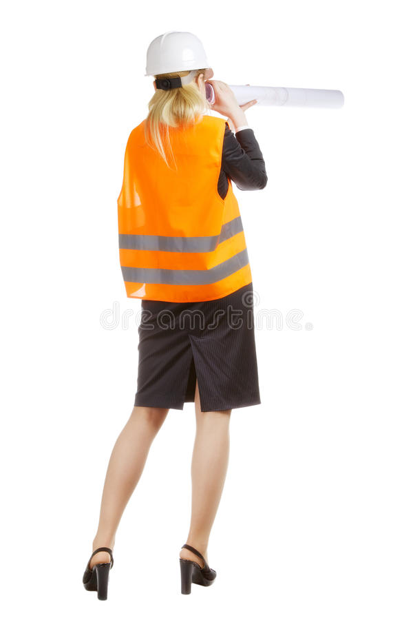Download Engineer Woman With Drawing Stock Image - Image of attractive, industry: 34472479