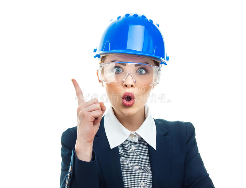 Engineer woman over white background. Astonished or surprised engineer woman, isolated on white background.Close-up of female contractor or entrepreneur, studio stock photos