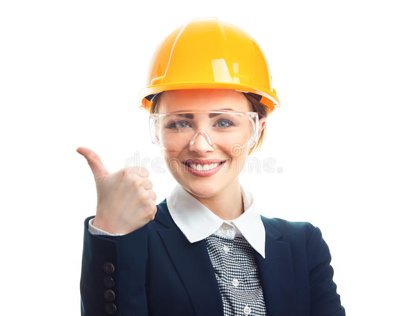 Engineer woman over white background stock photo