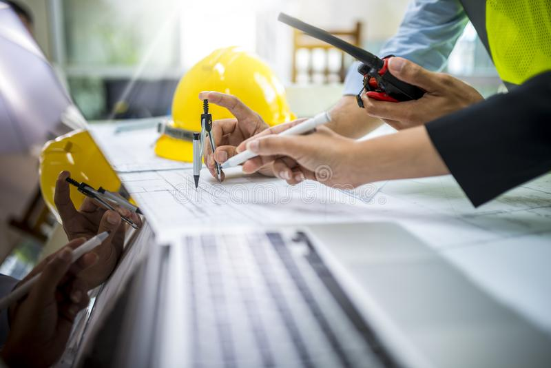 Engineer worker man discussing about building plan royalty free stock photography