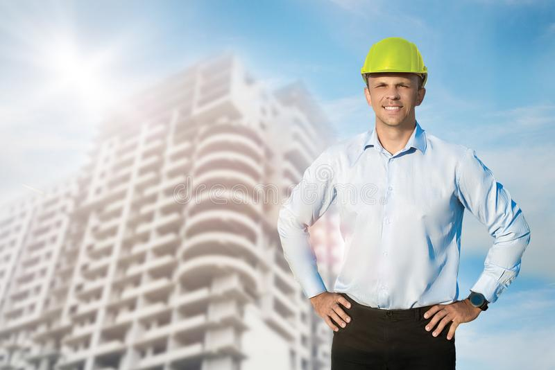 Engineer or worker wearing a protective helmet. royalty free stock images