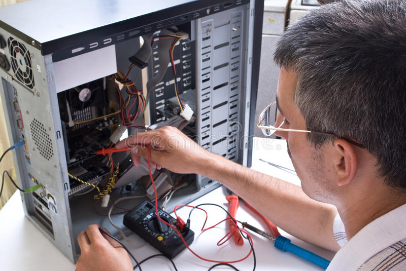 IT Engineer Working. Close-up stock images