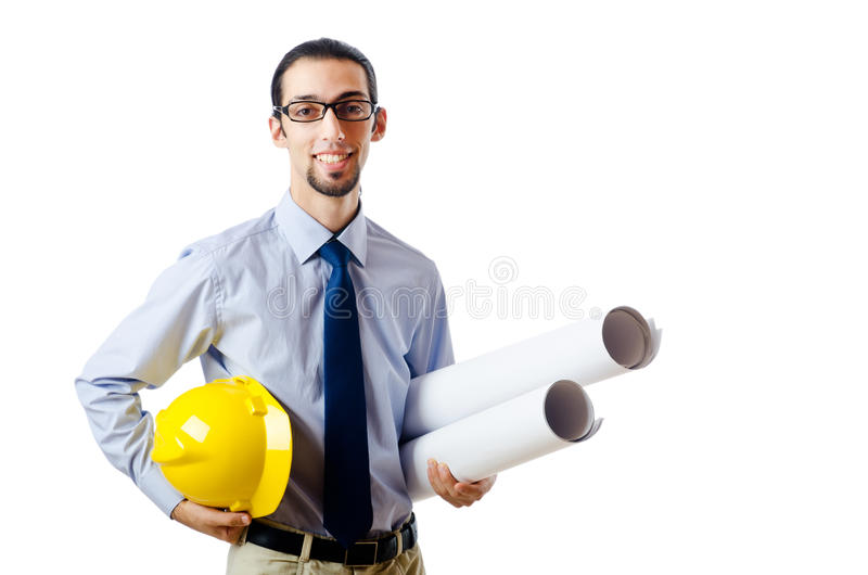 Engineer working with drawings royalty free stock photography