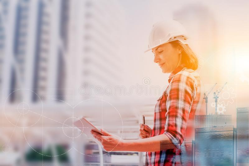 Engineer working on new technology, project building construction. And real estate royalty free stock photos