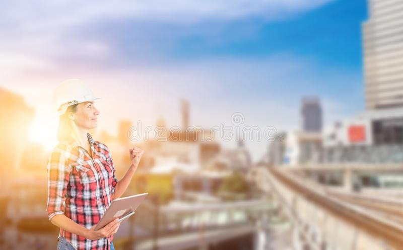 Engineer working on new technology,. Project building construction and real estate royalty free stock photography