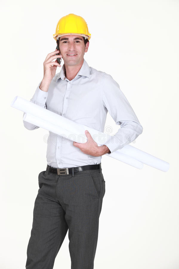 Download Engineer working on-site stock image. Image of phone - 30482343