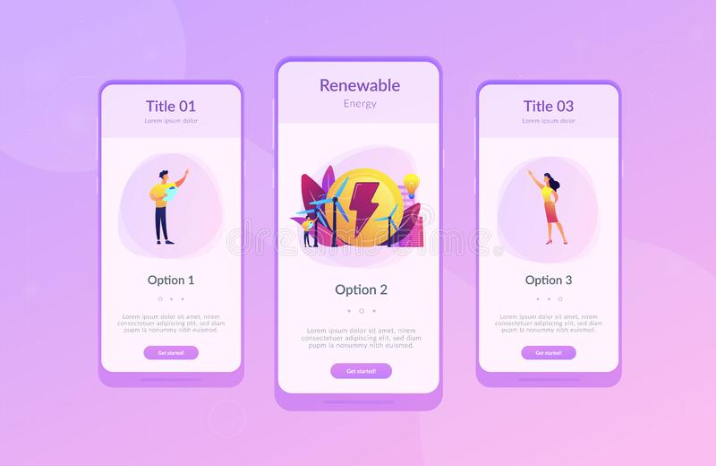 Wind power app interface template. Engineer working with wind turbines producing green energy, light bulb. Wind power, renewable energy, green electricity vector illustration