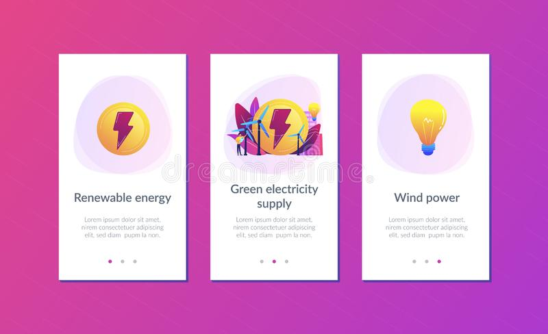 Wind power app interface template. Engineer working with wind turbines producing green energy, light bulb. Wind power, renewable energy, green electricity stock illustration