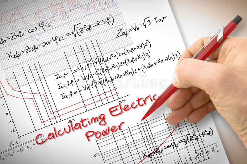 Engineer writing formulas and graph about electric power in buildings - concept image.  royalty free stock photo