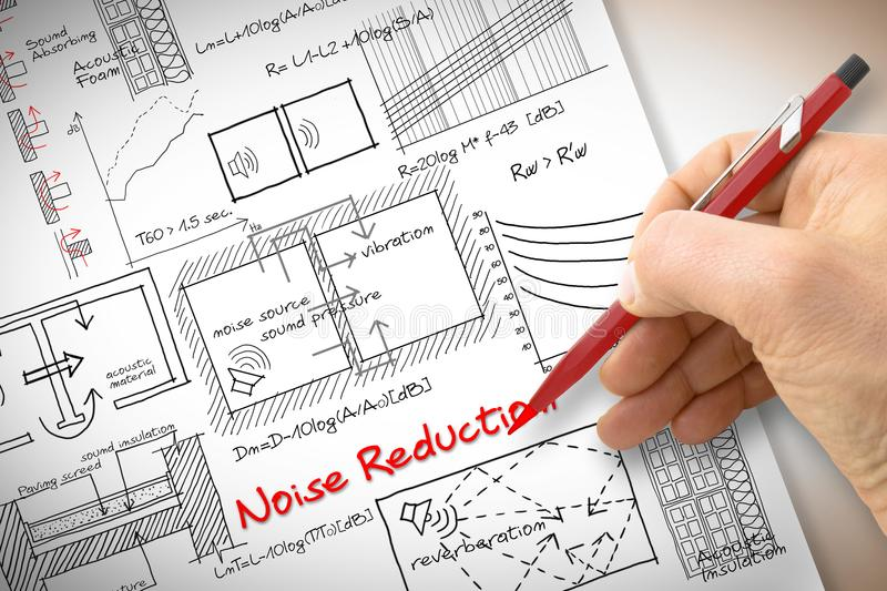 Engineer writing formulas about noise reduction in buildings - c stock photos