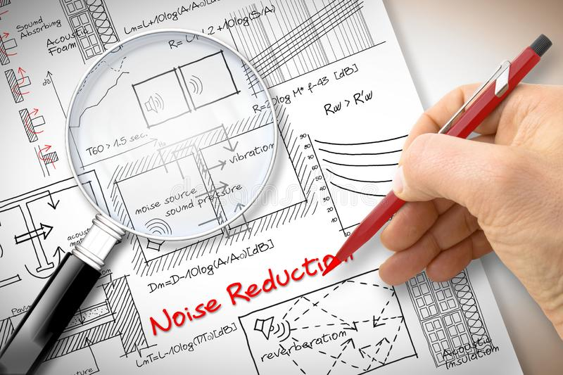 Engineer writing formulas about noise reduction in buildings - Concept image seen through a magnifying glass.  stock photo