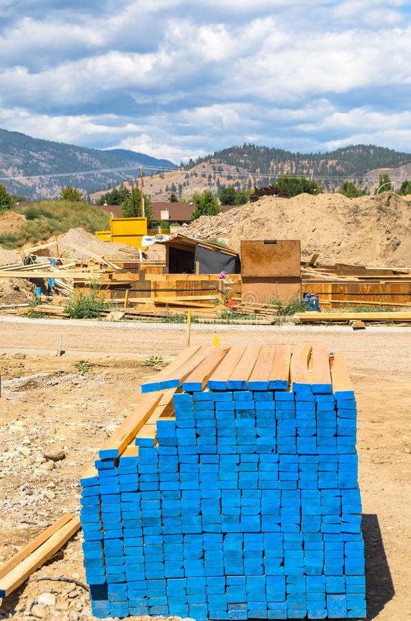 Engineered lumber materials prepared for building construction. Tow by four lumber wood. 2by4 royalty free stock photo