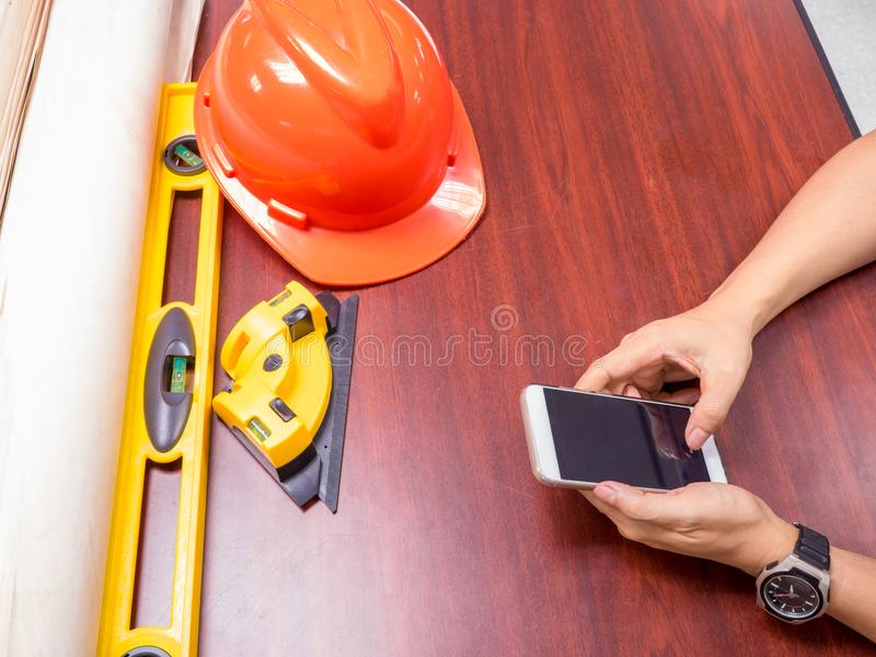 engineering and architect workplace with measurement equipments stock photography
