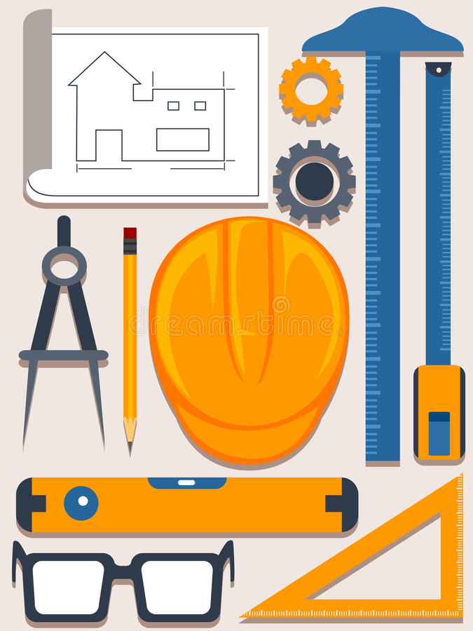 Download Engineering And Architecture Tools Elements Stock Vector