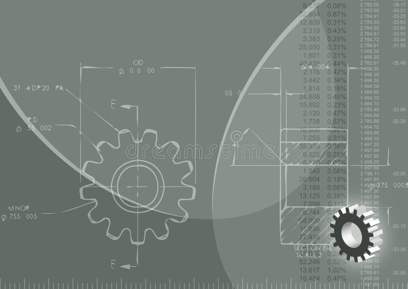 Engineering background. (ized) with blueprint of gear wheel. rule, 3D model of gear wheel and numbers royalty free illustration