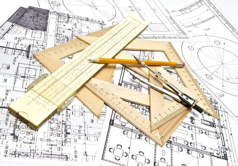 Engineering blueprint stock photos
