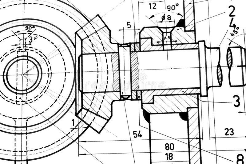 Engineering blueprint. Accurate blueprint of mechanical device stock photos