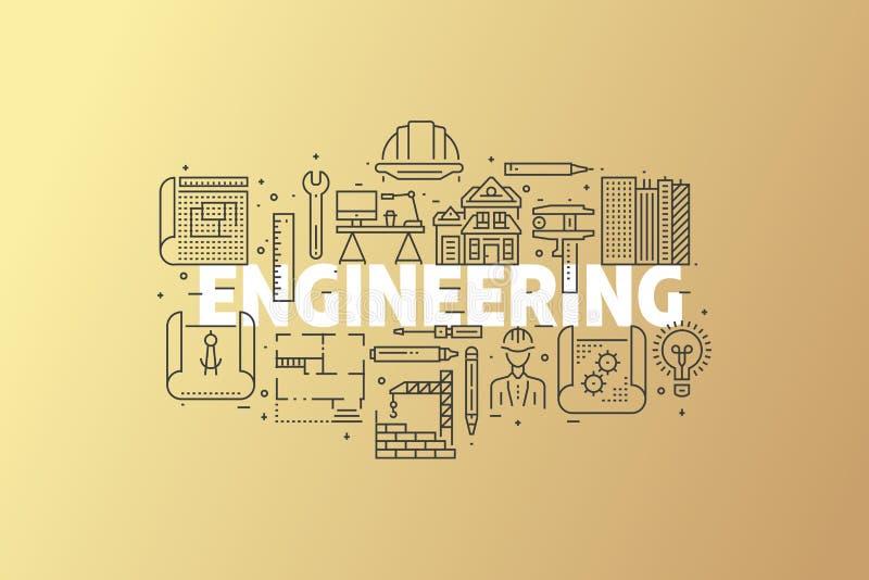 Engineering And Blueprint Banner Illustration. stock illustration