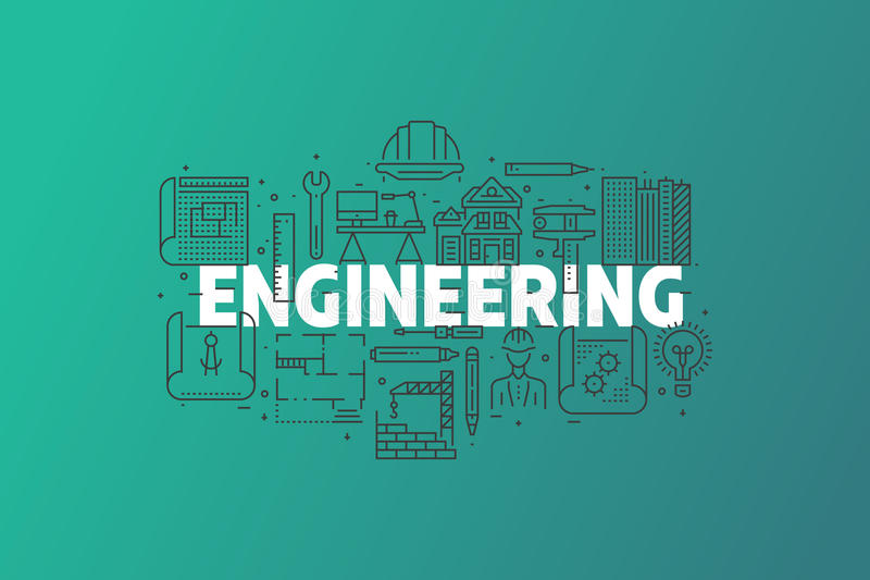 Engineering And Blueprint Banner Illustration. stock photos