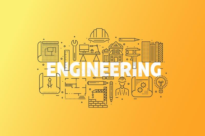 Engineering And Blueprint Banner Illustration. royalty free illustration