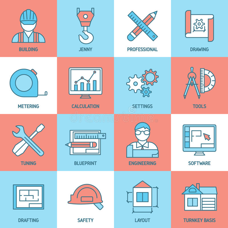 Engineering and blueprint icons set stock vector illustration of engineering and blueprint icons set with safety tuning software meter building drafts calculation crane vector illustration malvernweather Images