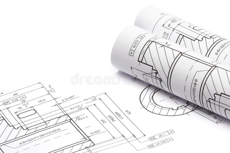 Engineering blueprints. Blueprints of engineering component on white background royalty free stock image