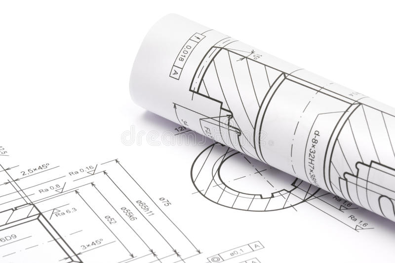 Engineering blueprints. Blueprints of engineering component on white background stock photos